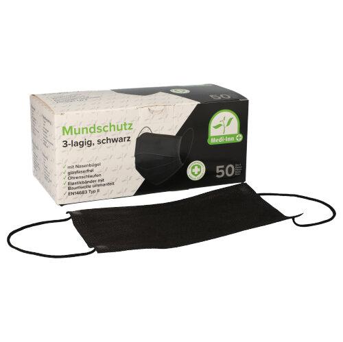 MEDI-INN OP-Mundschutz mit Gummiband | TYP II | schwarz