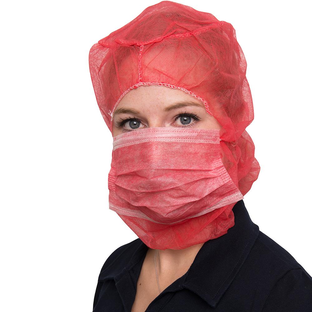 Produktbild Mundschutz und Schutzhaube rot