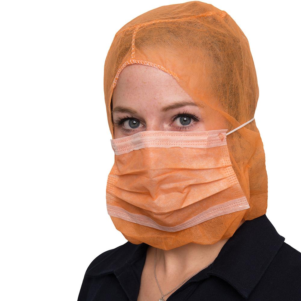 Tragefoto Mundschutz und Schutzhaube orange