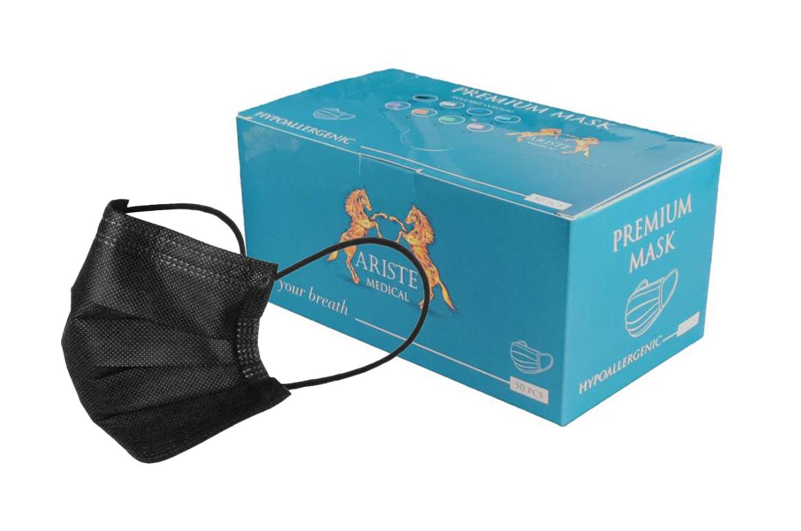 ARISTE PREMIUM MASK - OP-Mundschutz mit Gummiband   Typ IIR   schwarz