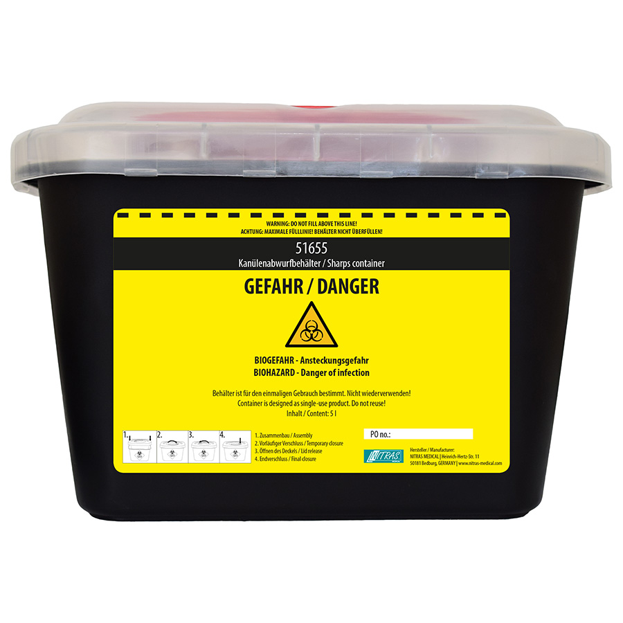 Kanülen Abwurfbehälter schwarz 5 Liter